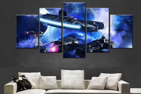 5 Piece Canvas Star Wars Millenium Falcon V2 Wall Art - EpicKanvas