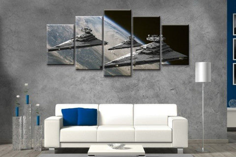 5 Piece Canvas Star Wars Super Star Destroyer Canvas Artwork for Home and Office Wall Decor