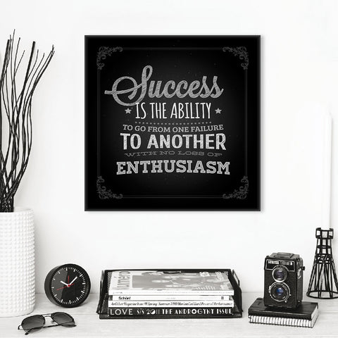 1 Piece Framed Canvas Vintage Retro Black White Motivational Success Quotes For Home & Office Decor