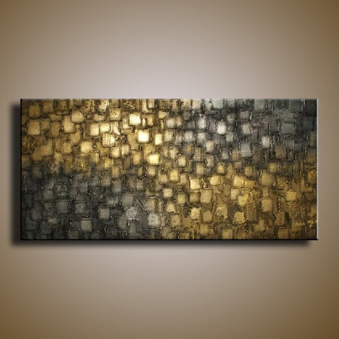Framed Handmade Modern Silver and Gold Square Painting Canvas Art