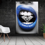 Epikkanvas Empowered Living - Shine Like A Diamond on Tongue Creative Abstract Motivation Painting Art For Home & Office Wall Decor - EpicKanvas