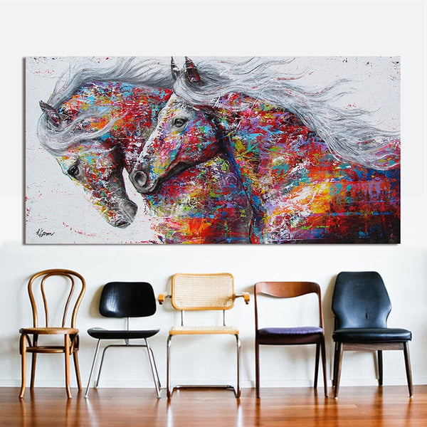 Epikkanvas Framed (Hand Painted) Two Running Horses Canvas Painting Graffiti Art For Your Home & Office Beauty - EpicKanvas