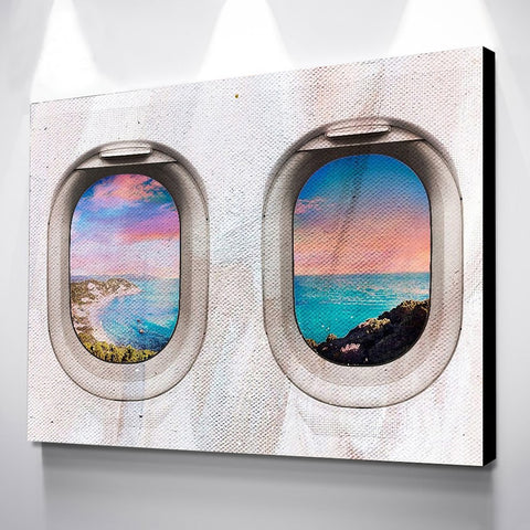 1Pc Framed Travel Airplanes Windows Abstract Canvas Art For Home & Office Wall Decor