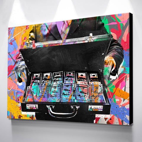 Epikkanvas Empowered Living - Thousands of Dollars in Suitcase Creative Abstract Motivation Painting Art For Home & Office Wall Decor - EpicKanvas