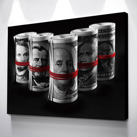 1Pc Roll Of Money Canvas Nordic Wall Art Of America Historic Presidents Art For Home & Office Decor - EpicKanvas