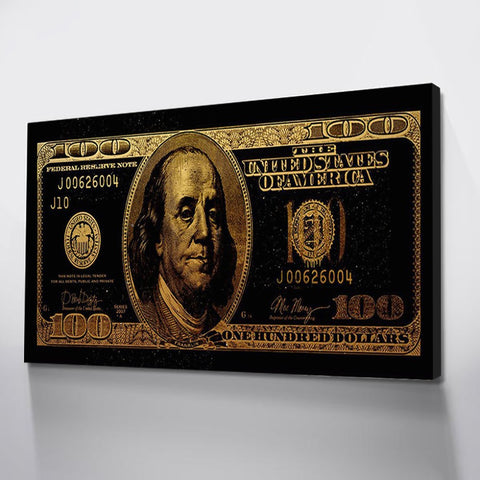 1 Pc Framed US Dollar in Gold Canvas Wall Art For Home & Office Wall Decor