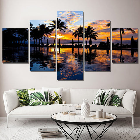Epikkanvas Empowered Living - 5Pcs Framed Beautiful Beach View Hawaii Relaxation Billionaire Shell - EpicKanvas