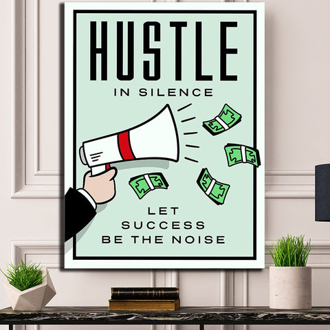 1 Piece Framed Canvas Hustle in Silence Let Success Be the Noise Artwork For Home & Office Decor