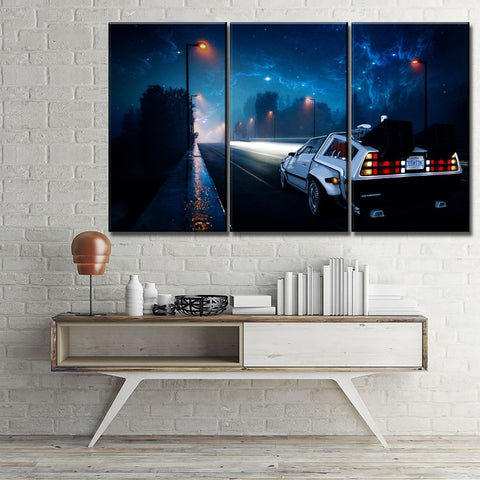 3 Pieces Canvas Back To The Future DeLorean Car Future Life Artwork For Home & Office Decor - EpicKanvas