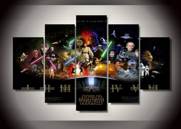 Framed Canvas Star Wars i - vi Painting - 5 Piece Canvas