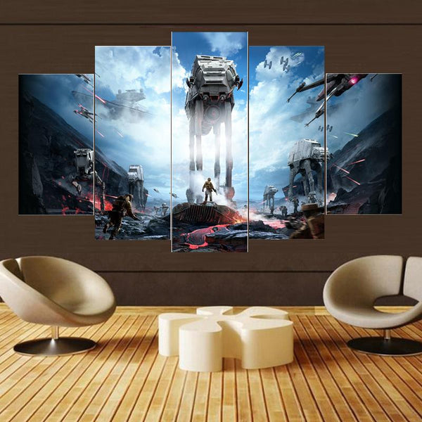 5PCS Framed StarWars War Zone Wall Art for Office & Home Wall Decor