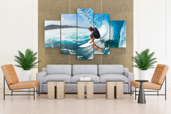 Surfing Surf Ocean Sea Waves Extreme Surfer - 5 piece Canvas - EpicKanvas