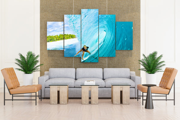 Surfing Surf Ocean Sea Waves Extreme Surfer - 5 piece Canvas