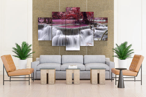 waterfall River Flow Autumn Purple - 5 piece Canvas