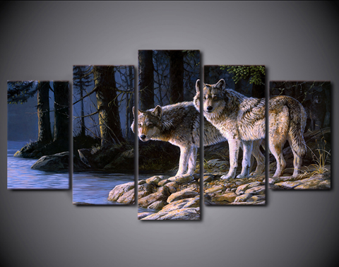 5pcs Framed Wild White Wolves Canvas Prints - 5 Pieces On Canvas Wolves Canvas Artistic Animal Painting On Wall Art For Office And Home Wall Decor