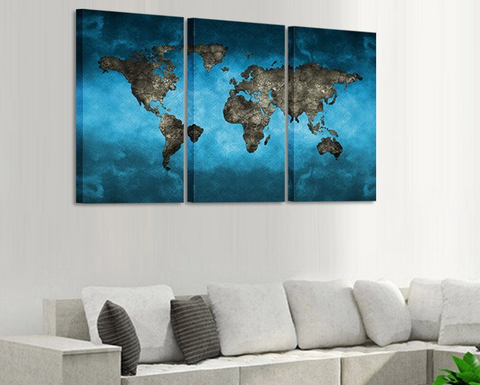 3 Pcs Framed Blue World Map Canvas Art - 3 piece Canvas For Home/Office Room