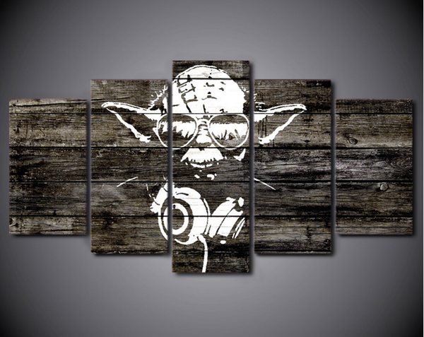 Framed Canvas Yoda The Vedic RockStar Star Wars - 5 Piece Canvas
