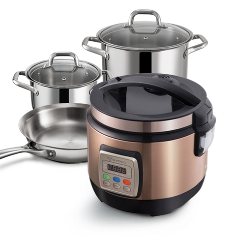 1.8L Multifunction Rice Cooker + 20cm Pot with Glass Lid + 24cm Pot with Glass Lid + 24cm Pan