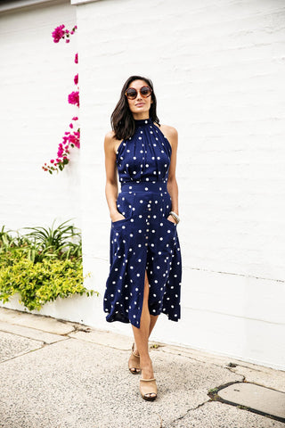 Toulouse Dress - Navy Blue Polka Dot