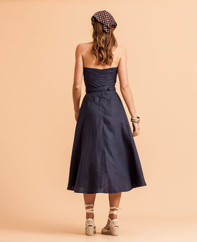 Cotton House Halter Dress - Navy Linen
