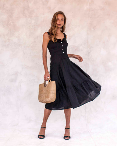 53bf7efc816d7 Hydra Linen Dress - Black ...