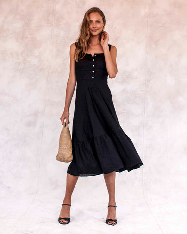 Hydra Linen Dress - Black