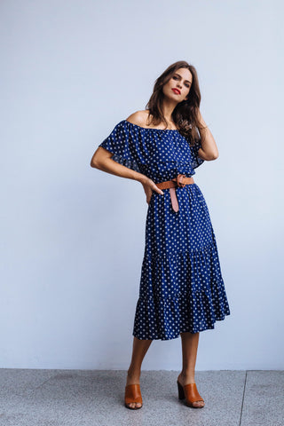 Ponza Dress Woodblock Cross Navy