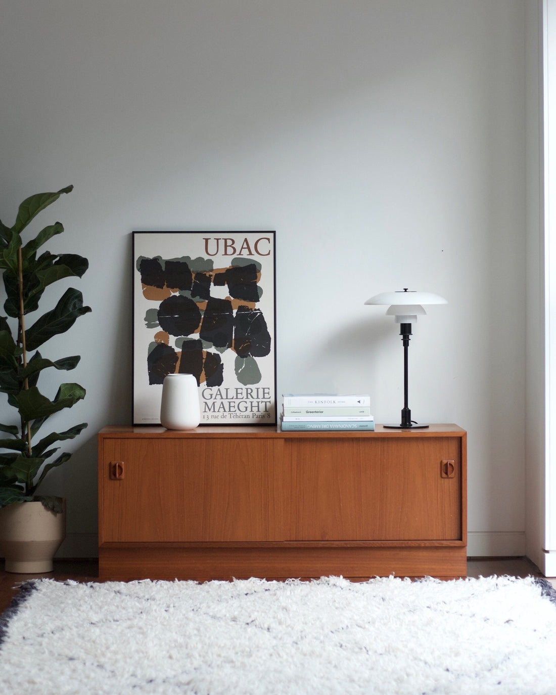 Danish Vintage Sideboard available at NABOshop Ditte Fisher vase PH lamp and Galerie Maeght poster taken by Christina Thaisen