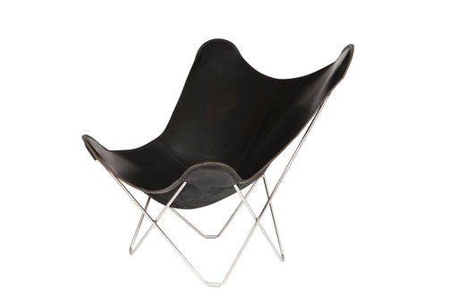 Butterfly Chair, Leather and Matte Chrome