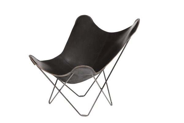 Butterfly Chair, Leather and Matte Black