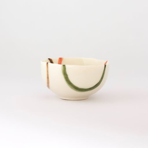 Treasure Bowl - Green, Orange & Brown Lines