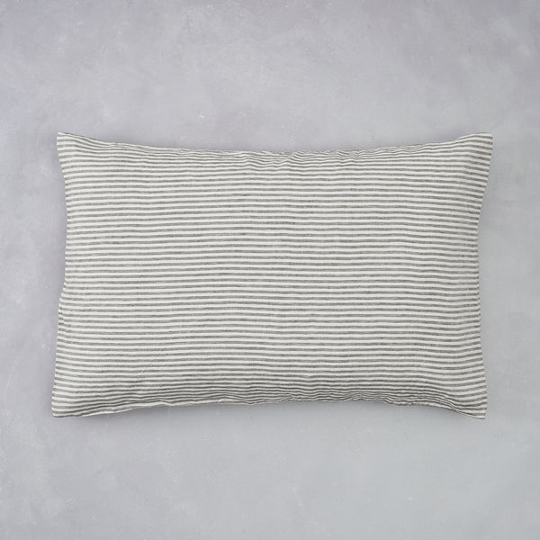 2 Linen Pillow Cases | Smoke Stripe