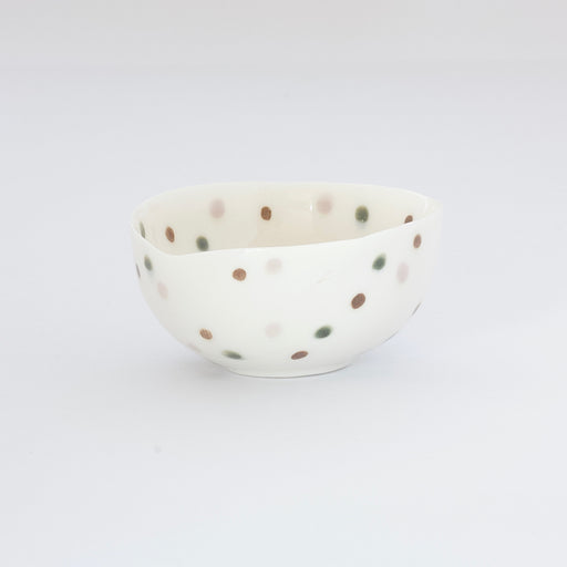 Treasure Bowl - Green, Brown & Pale Pink Dots
