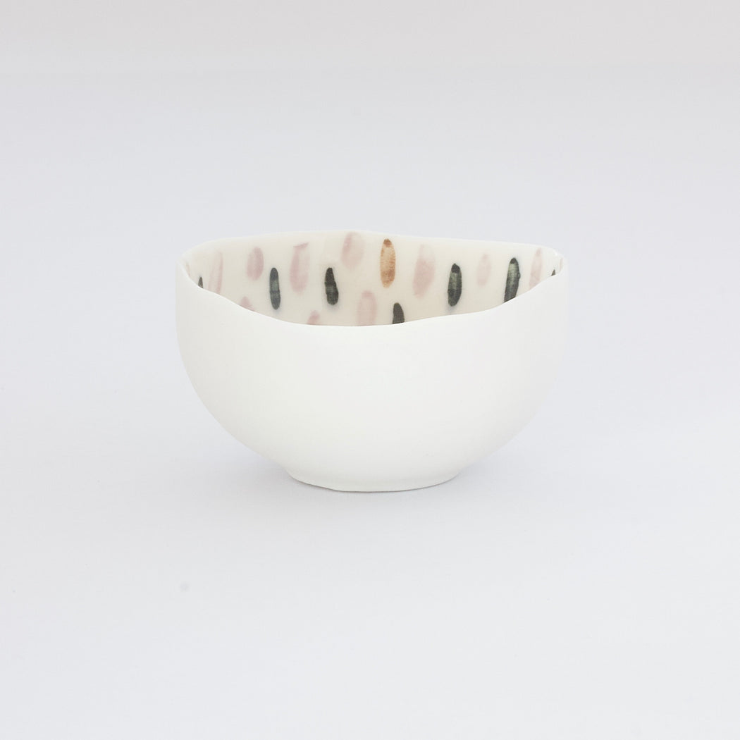 Treasure Bowl - Green, Brown & Pale Pink Lines