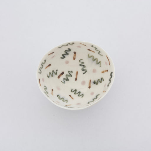 Treasure Bowl - Green, Brown & Pale Pink Pattern
