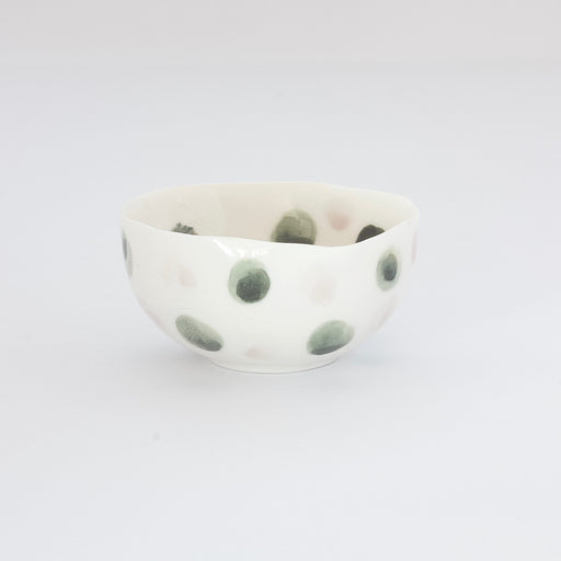 Treasure Bowl - Green & Pale Pink Dots
