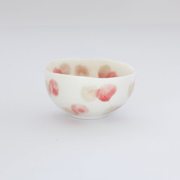 Treasure Bowl - Pale Red & Beige Dots