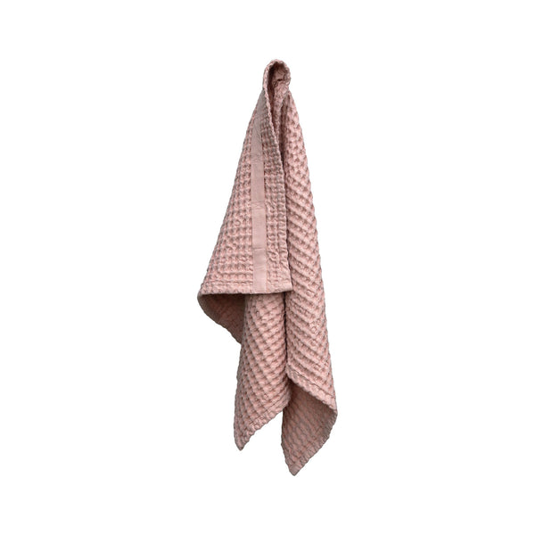 Waffle Hand Towel, Pale Rose