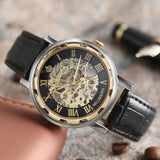 2017 New Men Skeleton Stainless steel Steampunk Luxury Watch