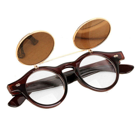 Unisex Round Flip Up Retro Vintage Steampunk Sunglasses