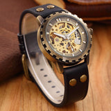 Men Leather Automatic Skeleton Mechanical Steampunk Watch