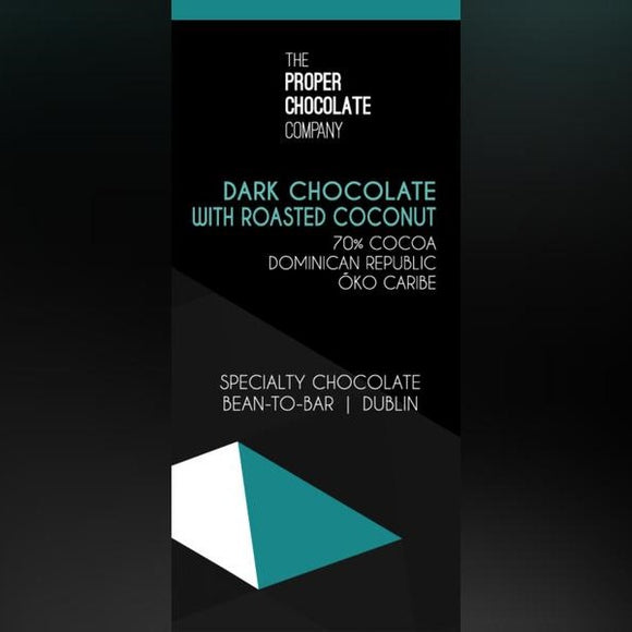The Proper Chocolate Company - Dominican Republic: Oko Caribe with Toasted Coconut 70% Cocoa 50g