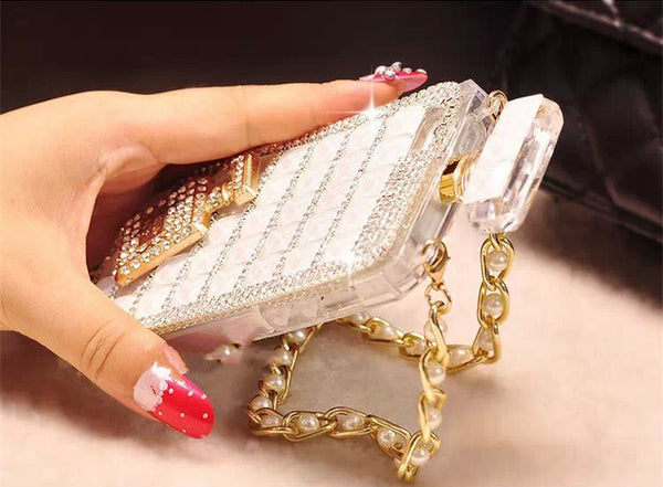 Perfume Bottle Shaped Case with Pearl Chain for iPhone
