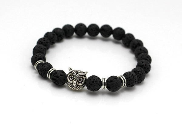 Lava Stone Bead with Cute Owl