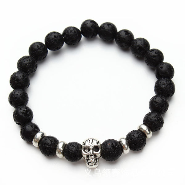 Lava Stone Beads with Plated Silver Skull