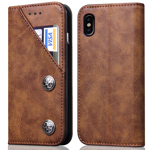 Vintage Magnetic Wallet Case for iPhone