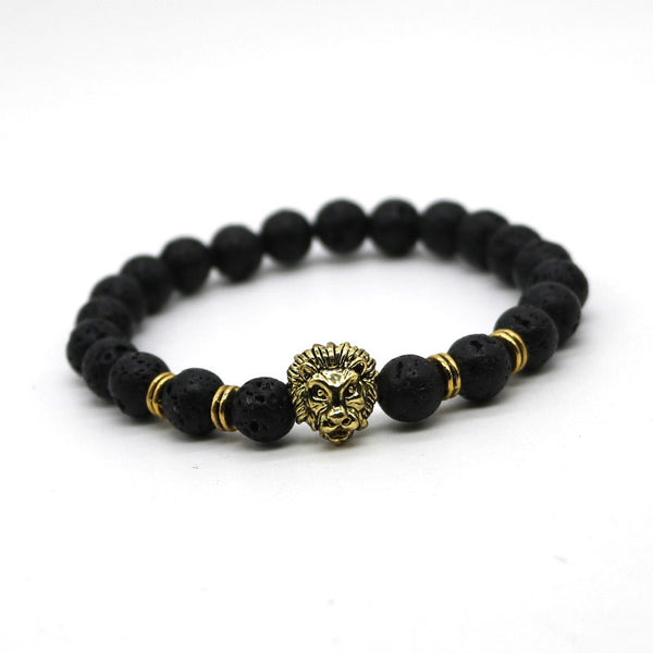 Lava Stone Beads with Lion Head