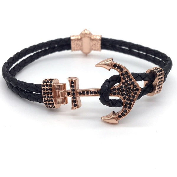 Charm Anchor with Leather Wrap