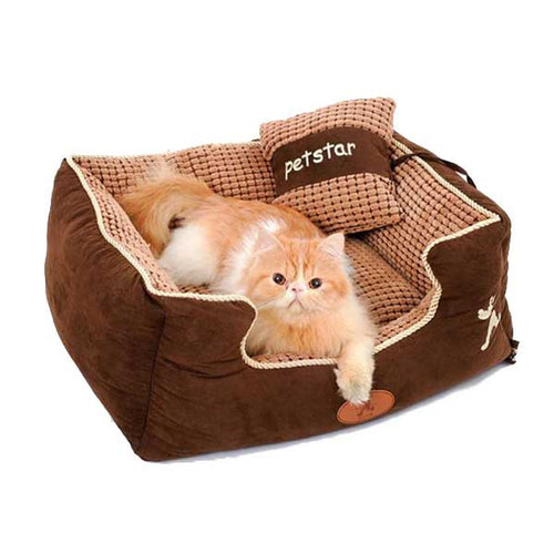 Aberash Brown Cozy Lounge Pet Beds With Pillow Attached