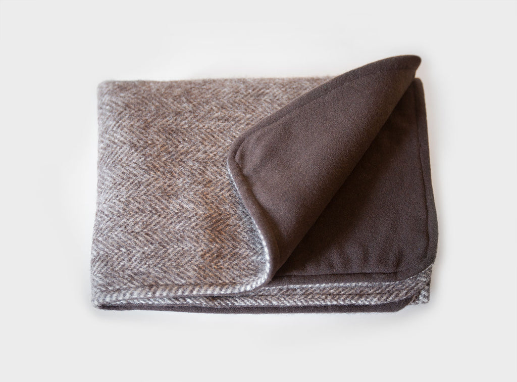 Herringbone Un-dyed Natural Wool Pet Blanket